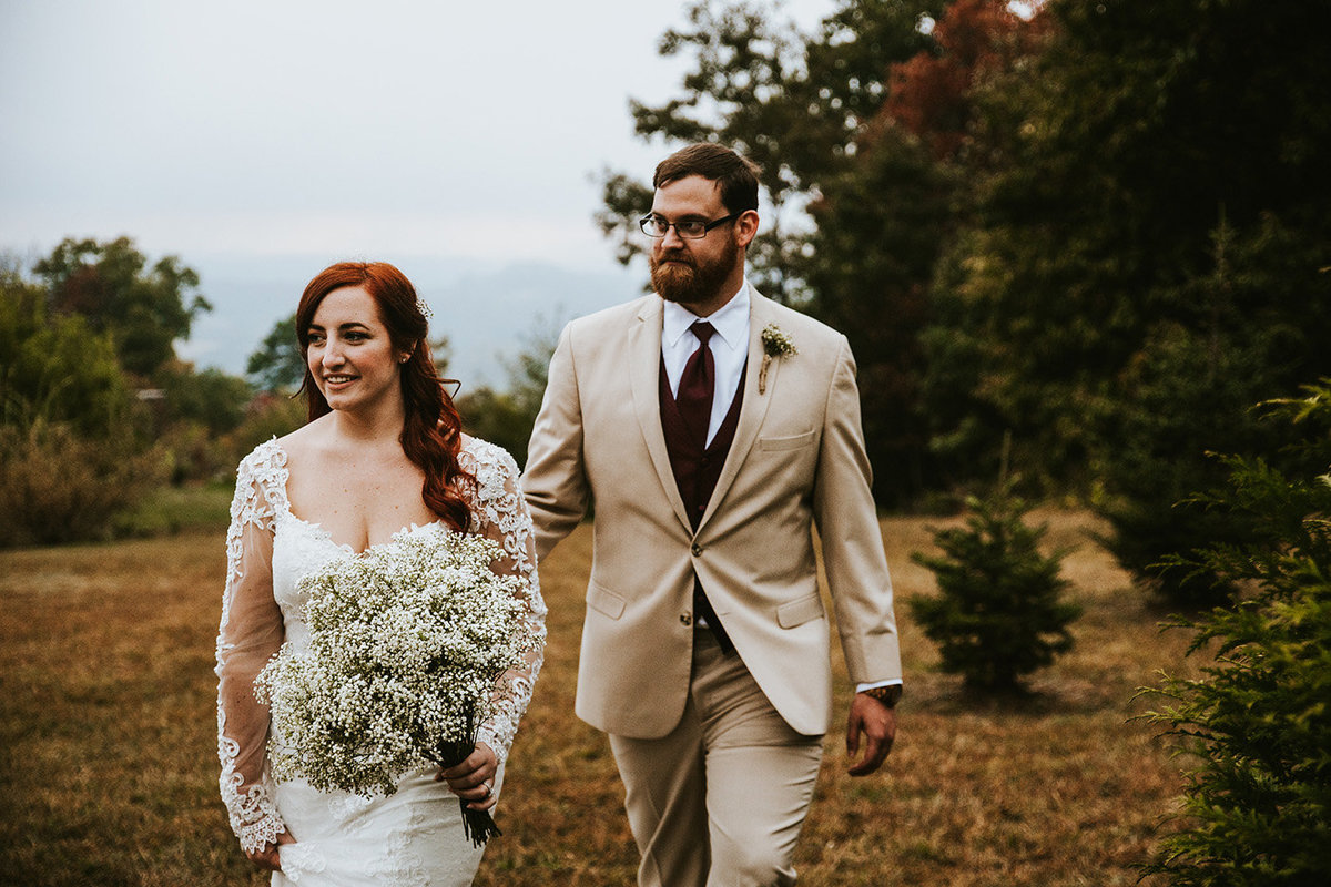 wedding couple in Asheville North Carolina