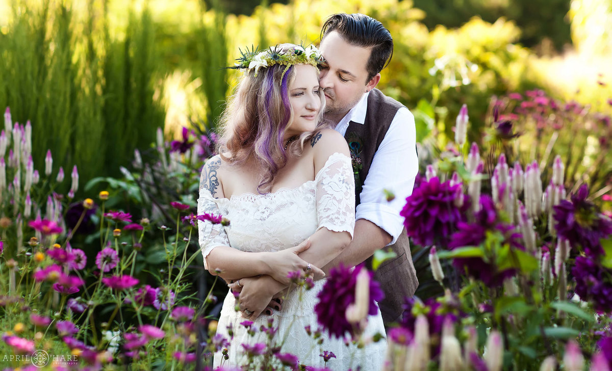 Beautiful garden wedding photography at Denver Botanic Gardens Colorado