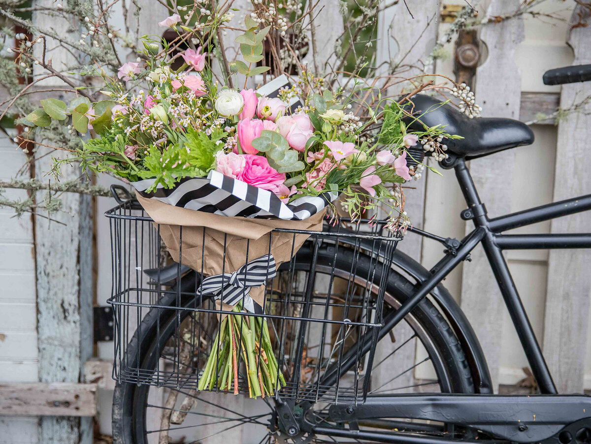 bike with flowers outside the flower theory florist in danville, ca photographed by nancy ingersoll