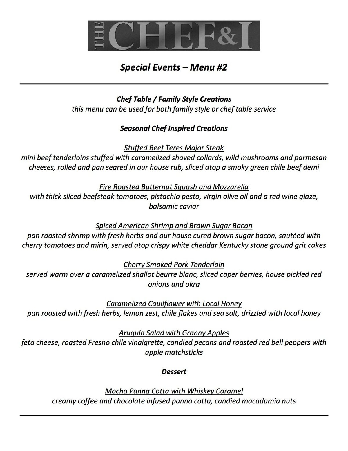 Special Events Menu 2