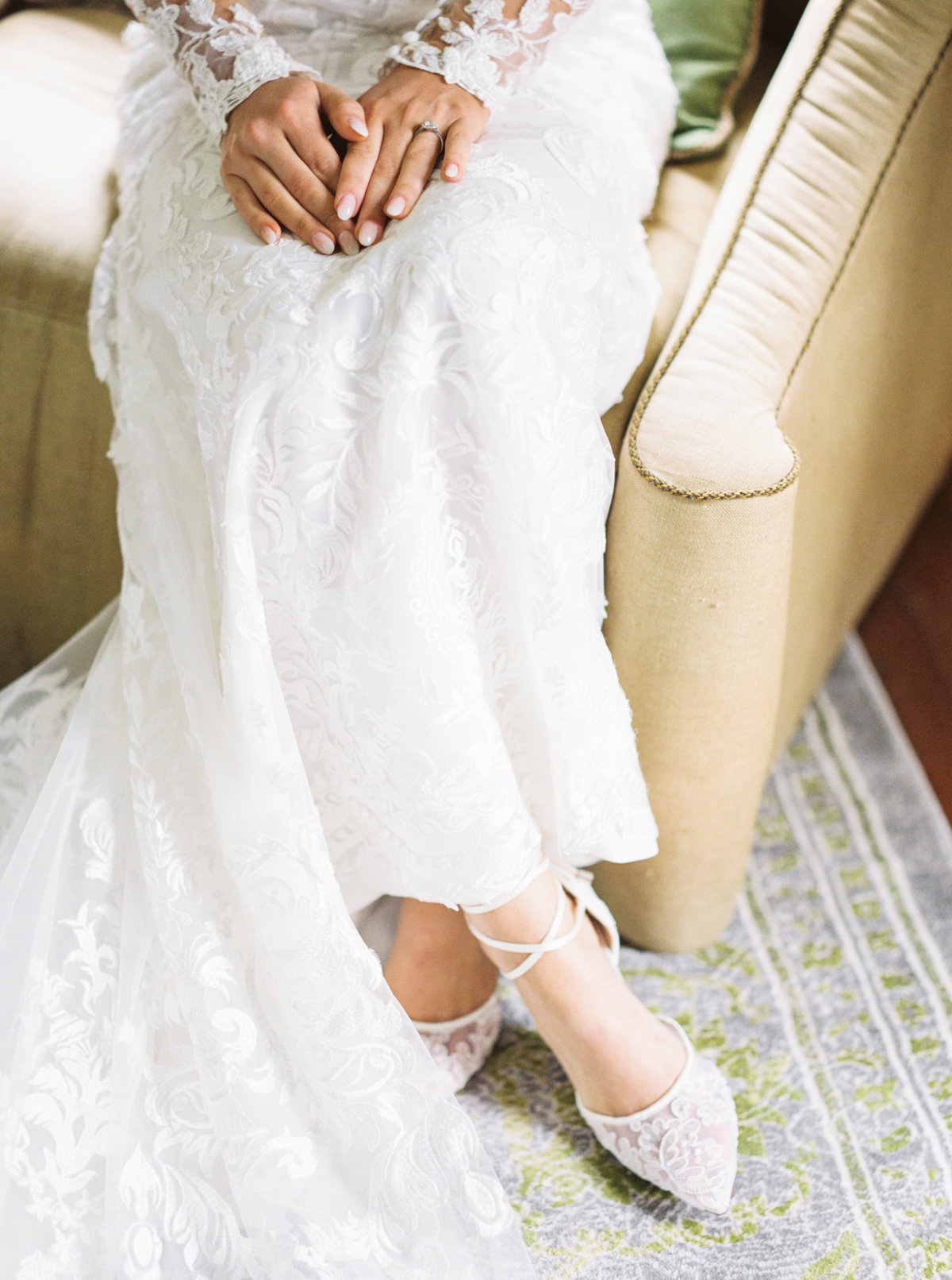 Bride with lace gown and shoes