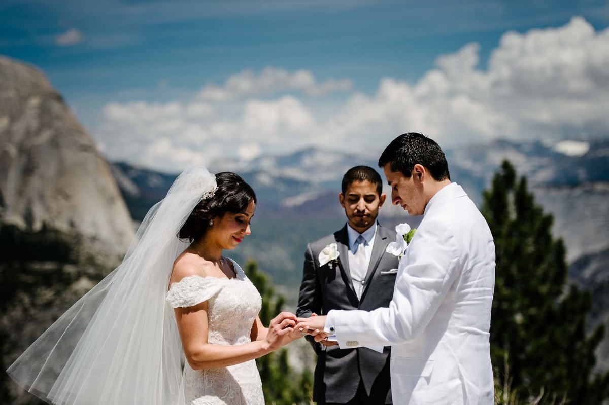 wedding ring exchange  AT YOSEMITE NATIONAL PARK