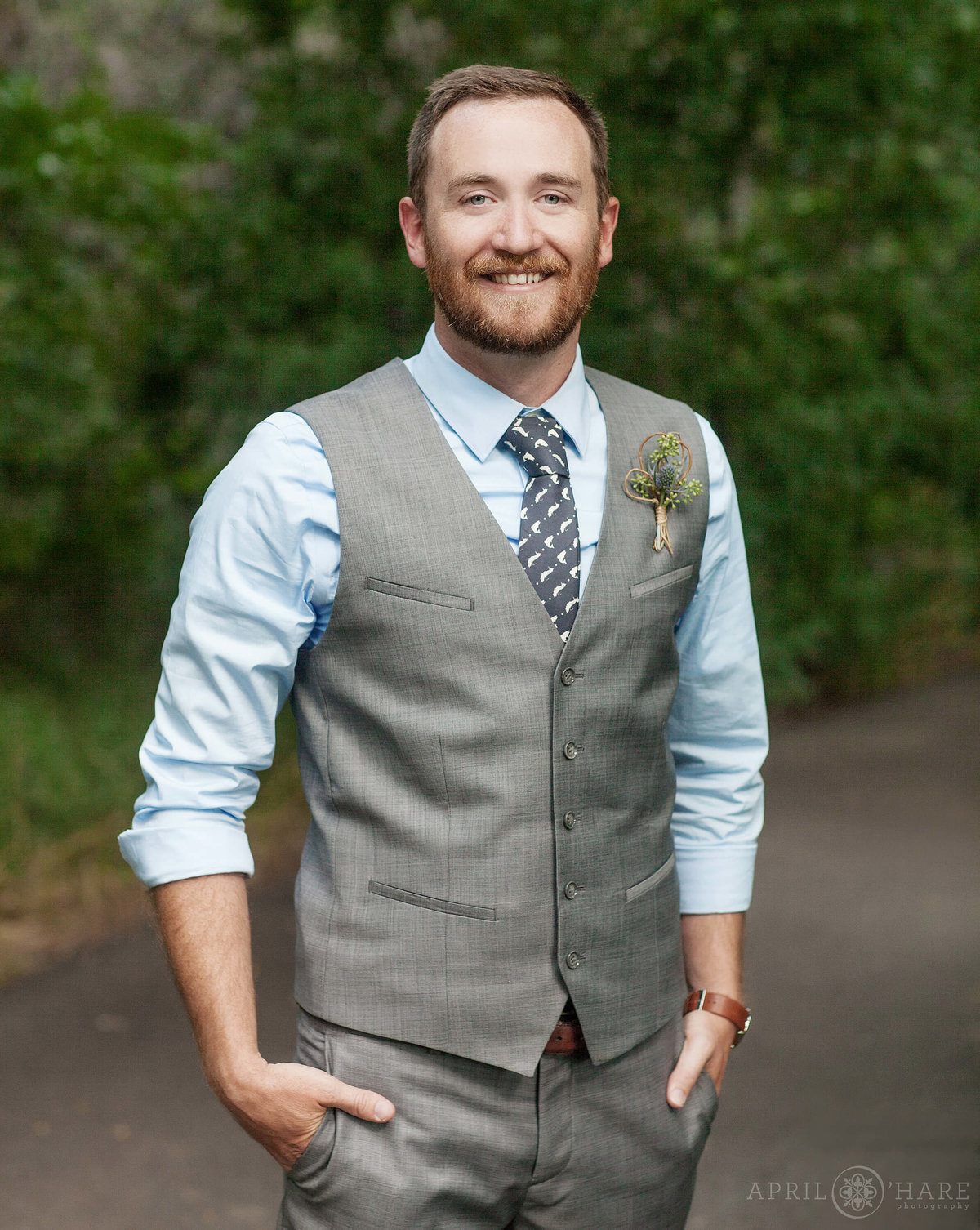 Denver Wedding Photographer Groom Portrait at Denver Botanic Gardens Chatfield Farms