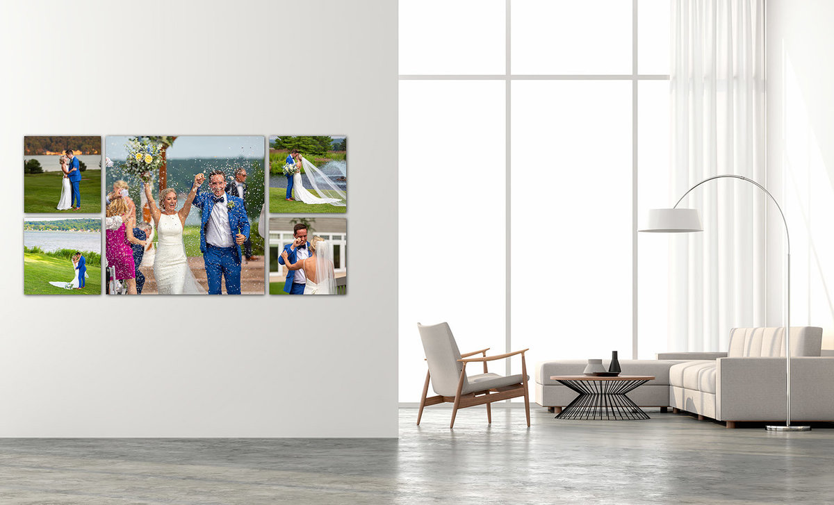 A composite of 5 images on the wall of a very bright living room with tall ceiling.