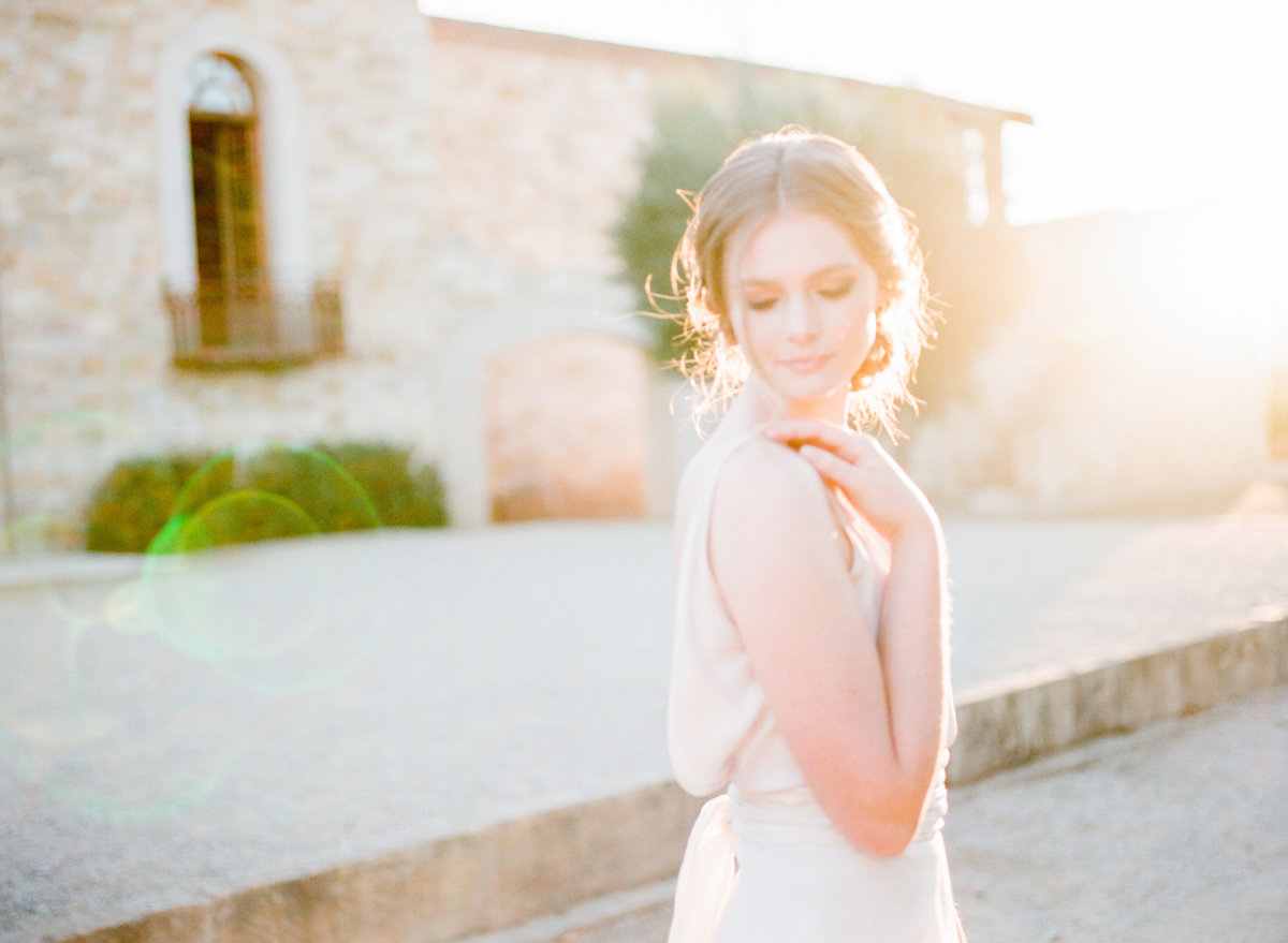 Golden Hour Light Wedding Photo