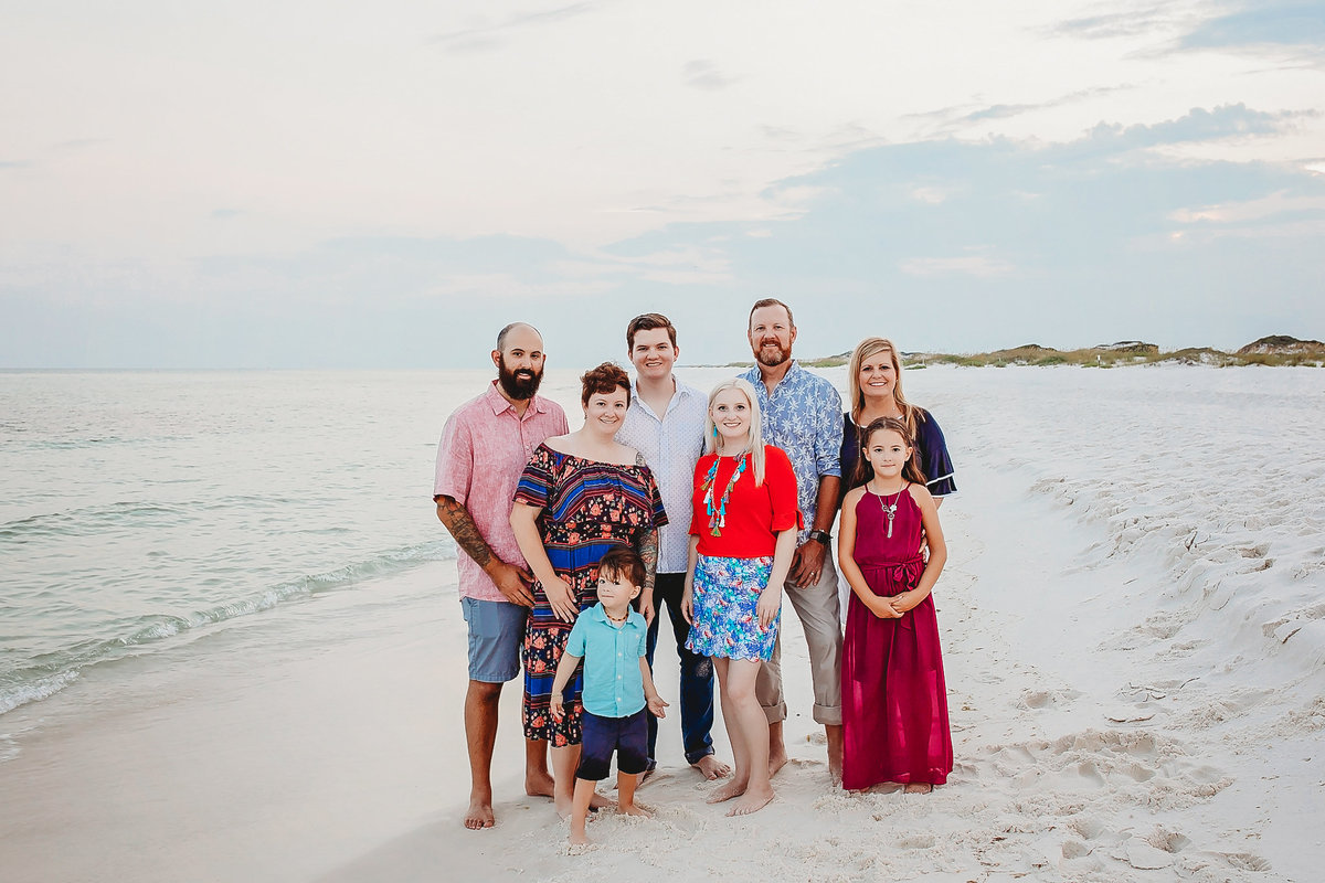 Extended family session on beach