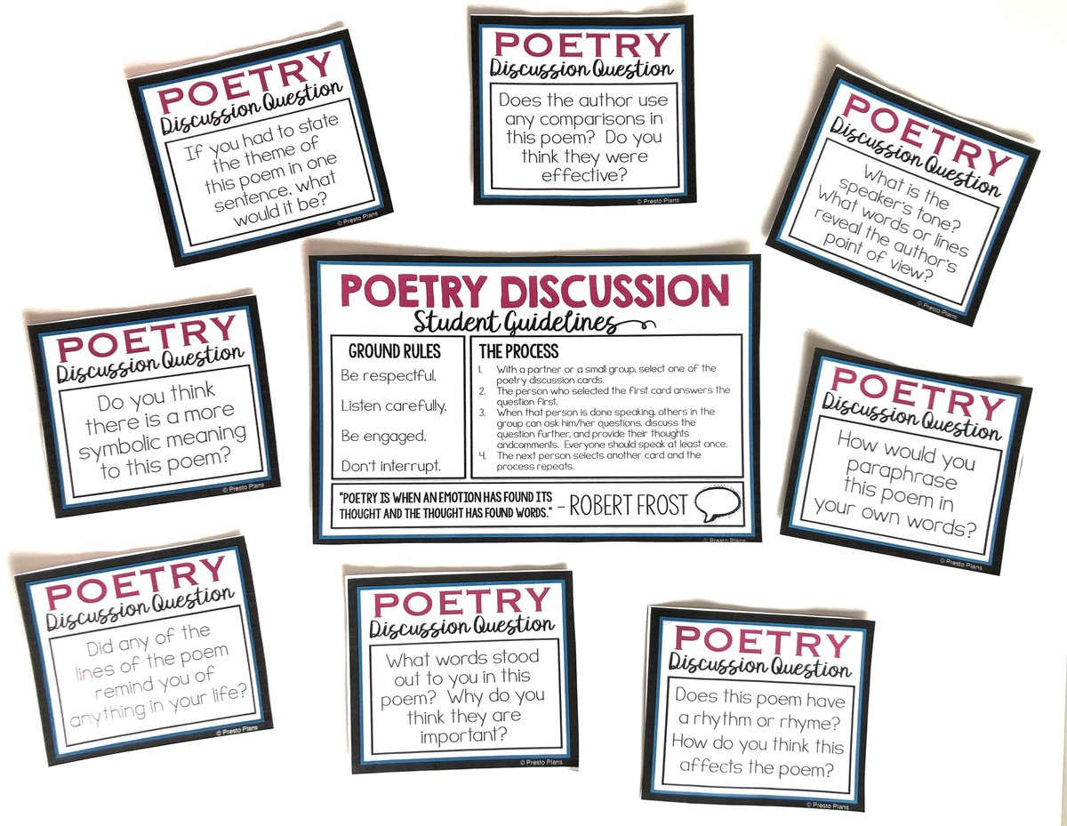 Poetry discussion activity where students discuss a poem using task cards.