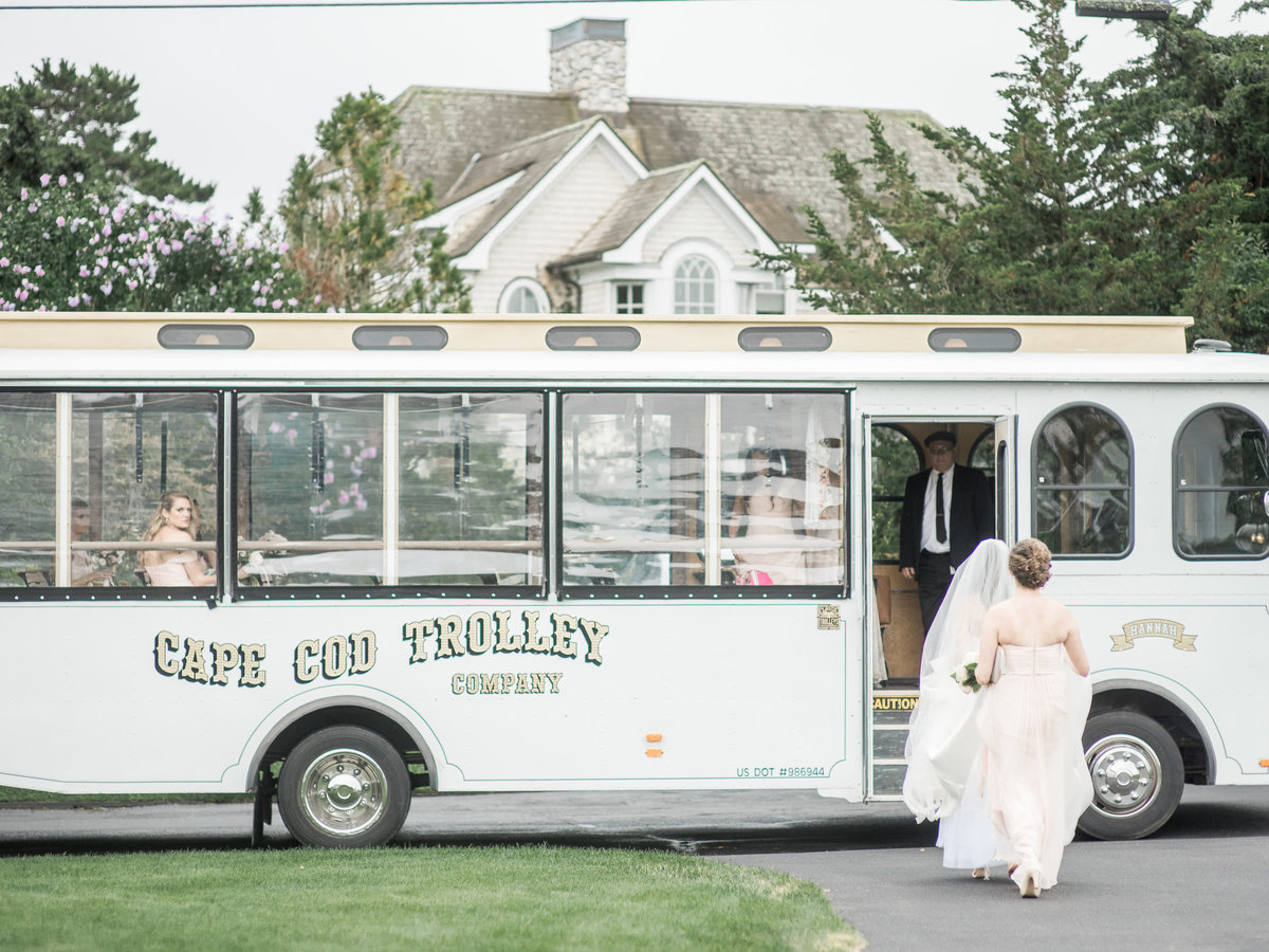 White wedding trolley for Cape Cod wedding weekend by top destination wedding planner Always Yours Events