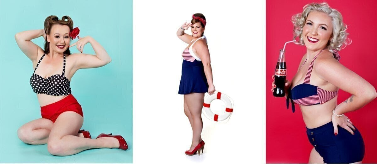 3 women in bathing suits posing for a pinup photo
