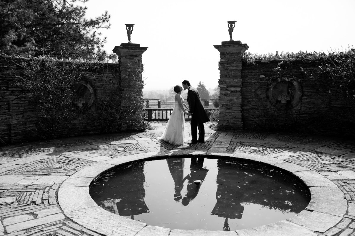 hestercombe gardens black and white summer wedding photo