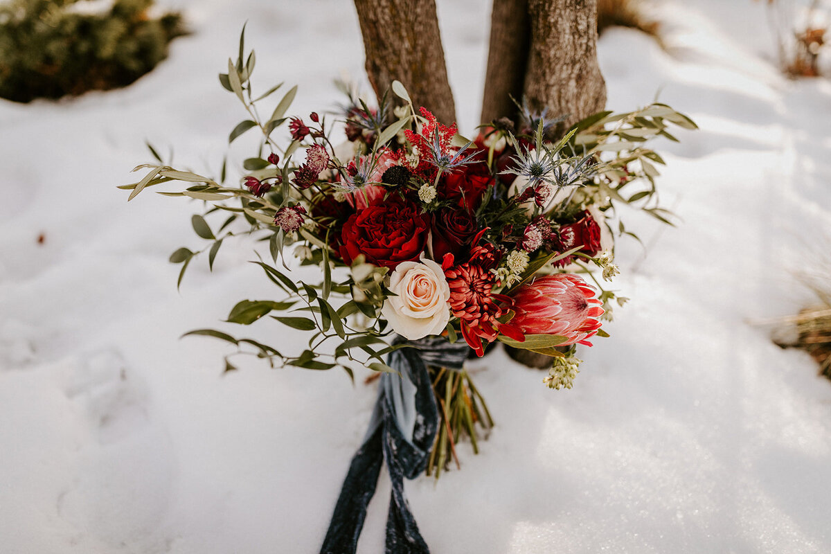 bridal bouquet, protea bouquet, winter wedding, bend oregon florist