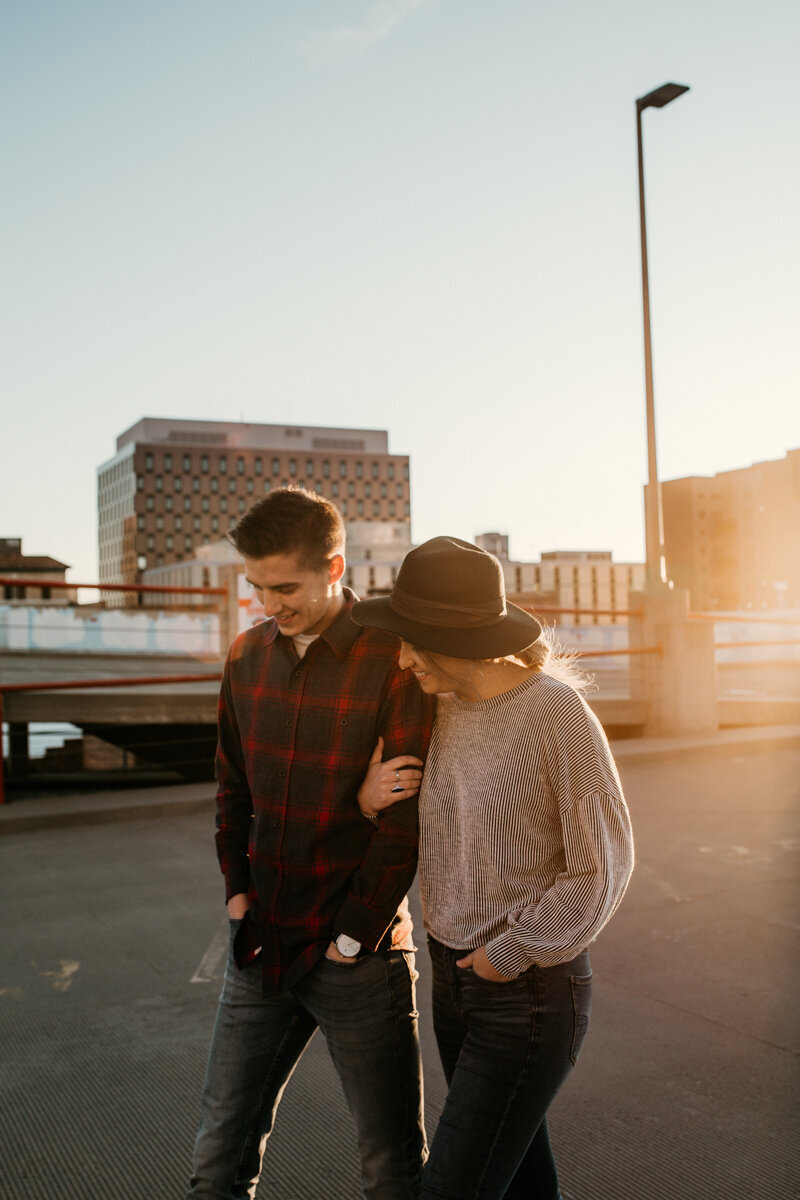 couple walking on parking garage downtown Albuquerque