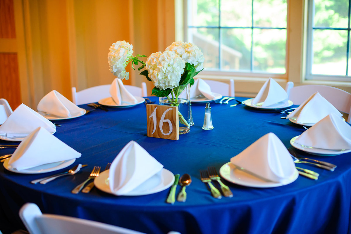 wedding decor with blue table cloths and white hydrangeas