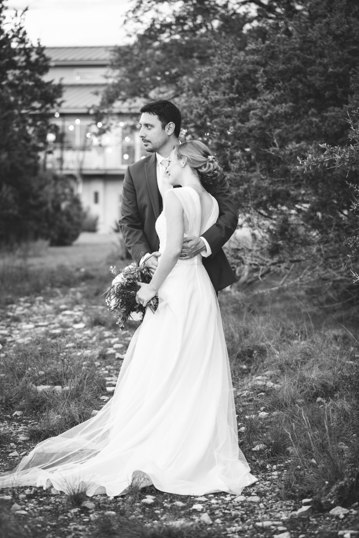 terrace club wedding photographer black white bride groom 2600 US-290, Dripping Springs, TX 78620