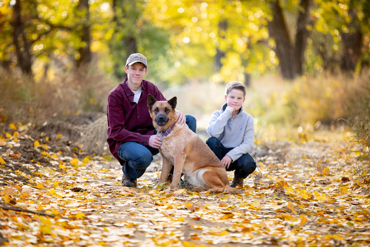 Brothers with dog on a trail with fall leaves and color. Next to the milk River in Saco Montana. Fall Family photos near me.