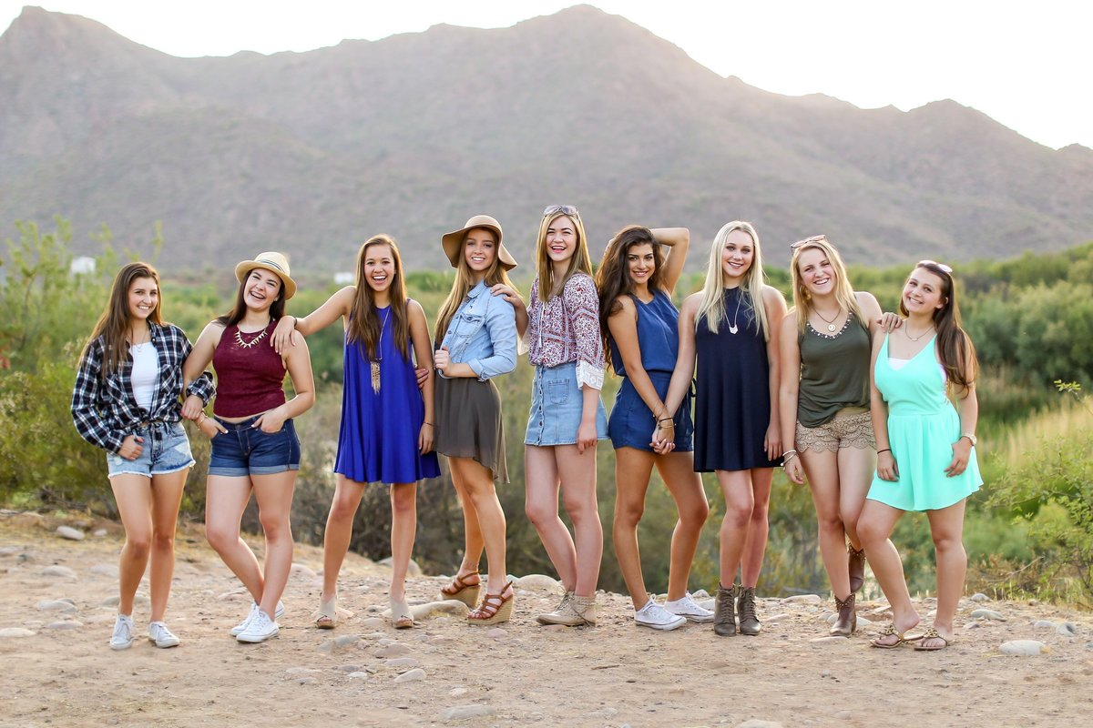 Senior model team photo shoot at Salt River in Mesa, Arizona