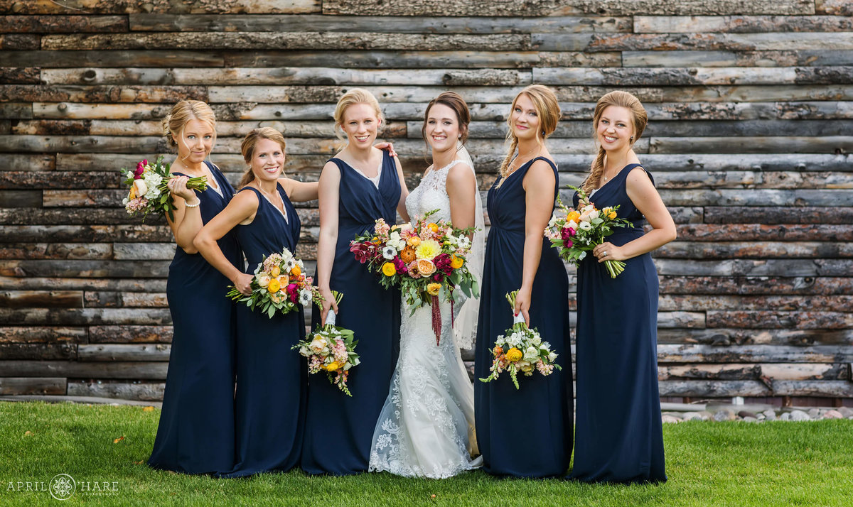 Bride with Bridesmaids Wedding Photography Church Ranch Event Center Colorado