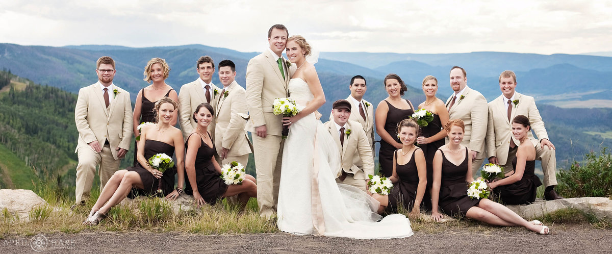 Unique large wedding party portrait mountainside at Steamboat Springs Resort in Colorado