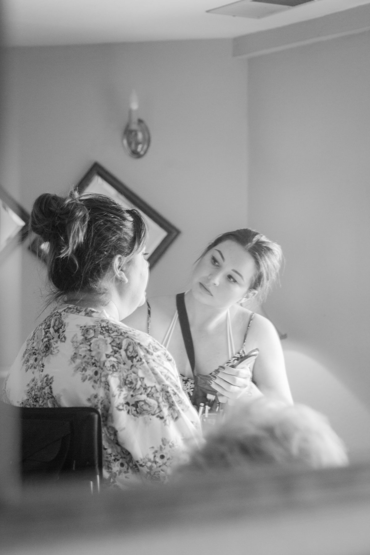 Back and white of bride getting ready at Madrona Manor in Healdsburg California