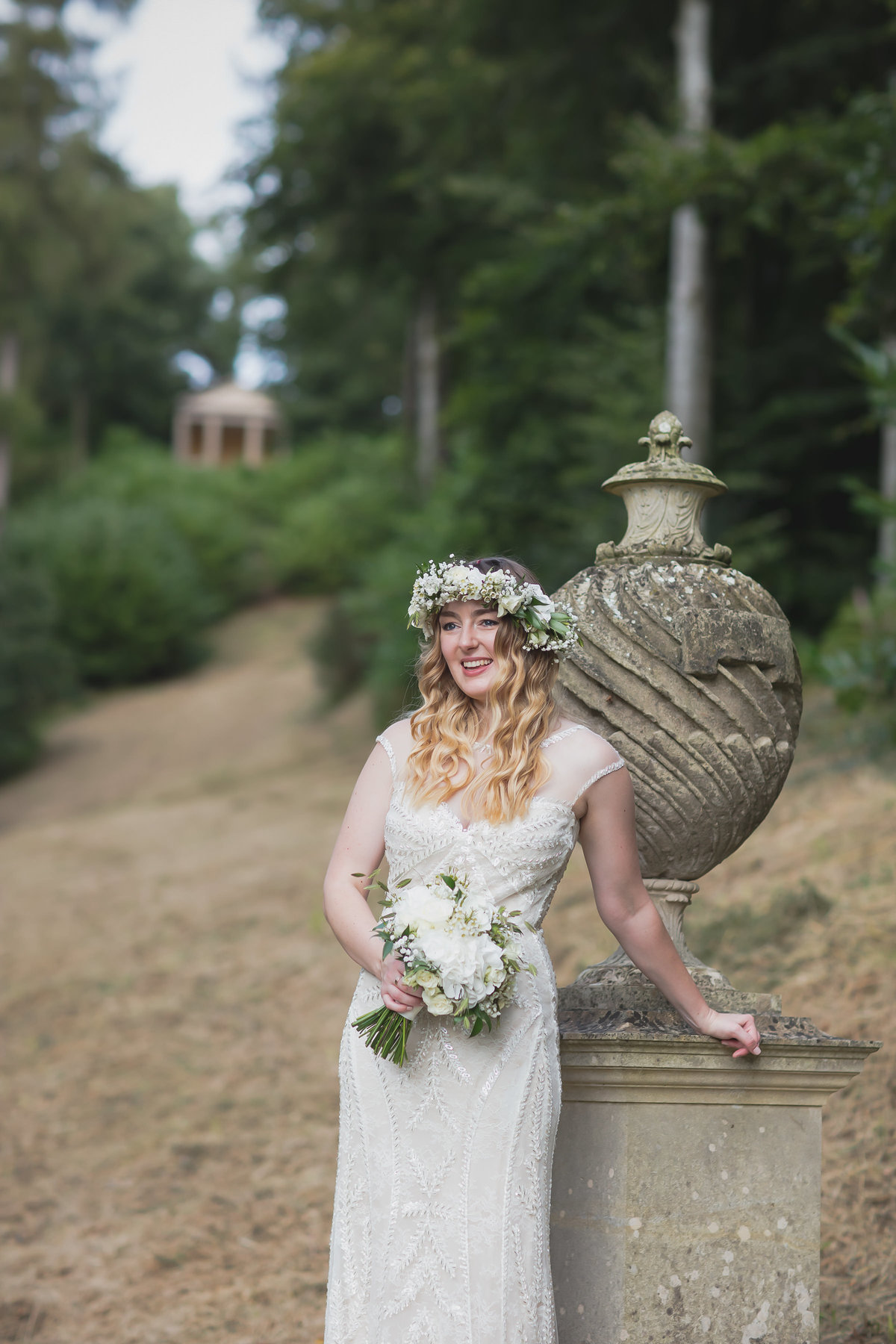 bride with floral headpiece at hestercombe gardens