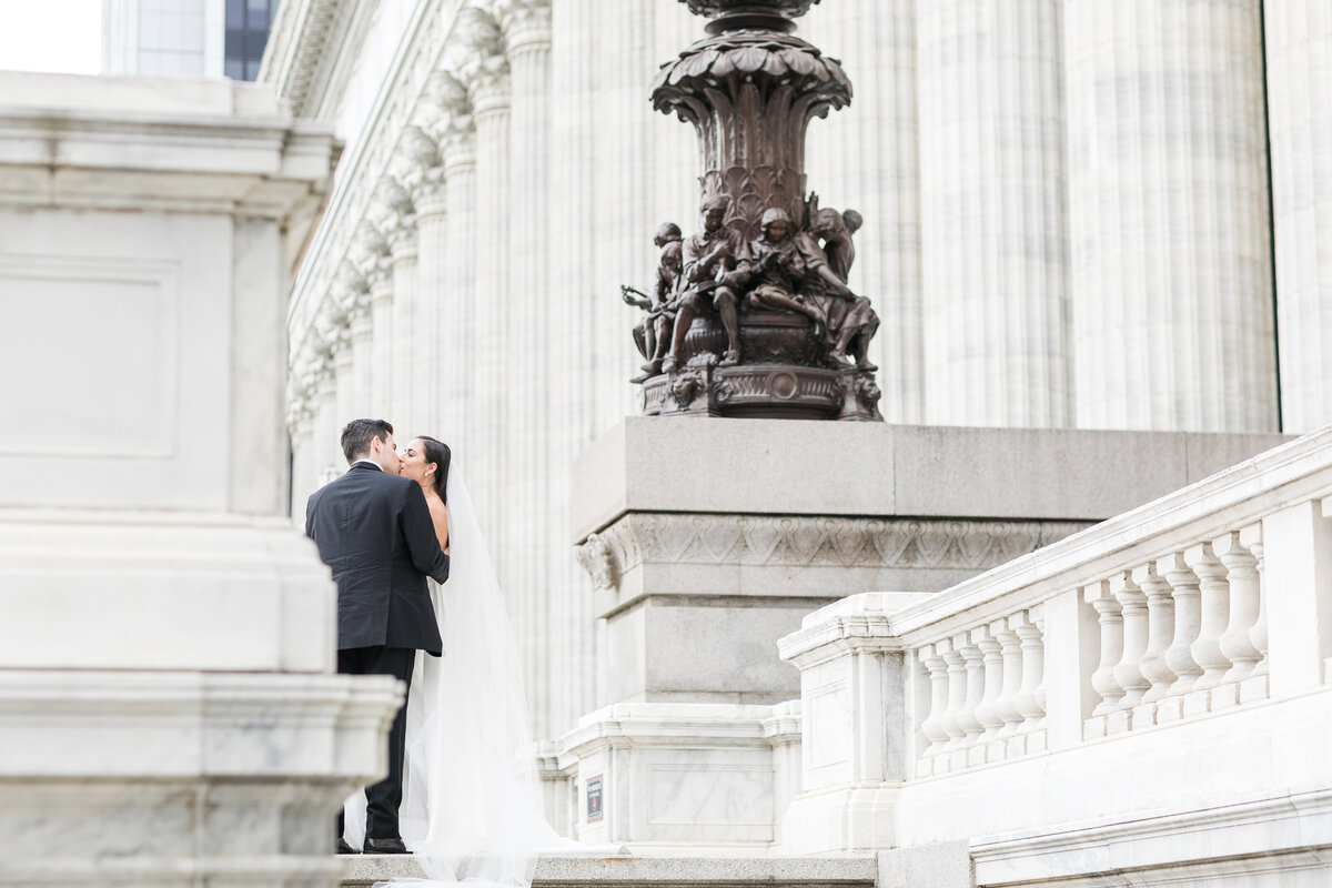 Bride and Groom Kissing in Albany, NY at the Education Building