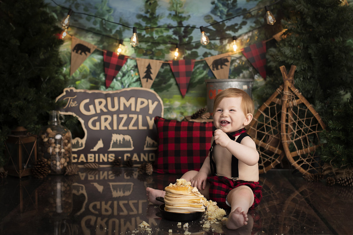 columbus ohio photographer cake smash first birthday lumberjack wild one wild things