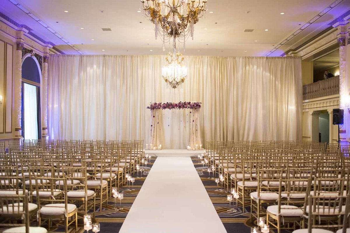 Simple and elegant wedding reception set up at the Fairmont Olympic hotel in Seattle.