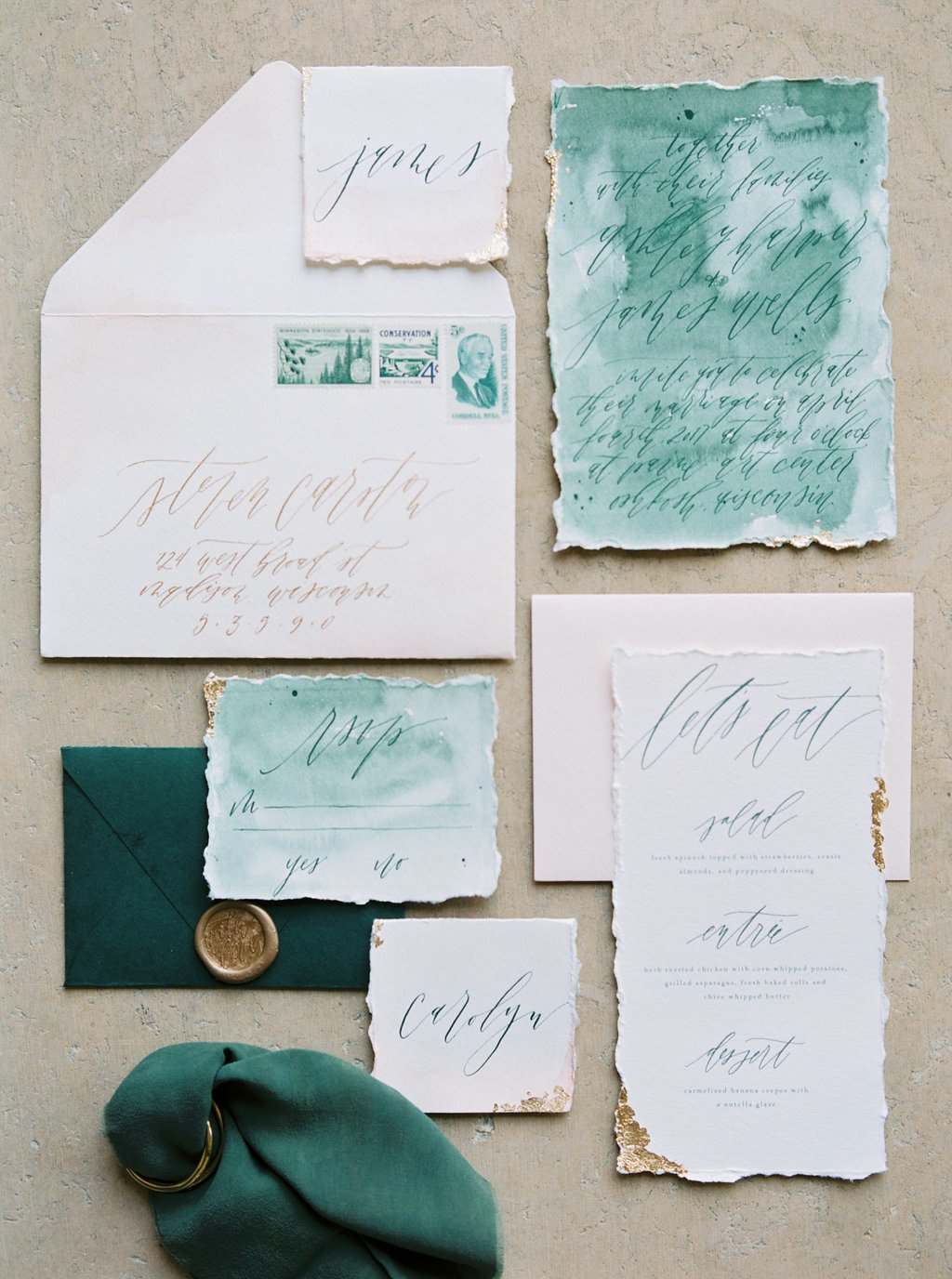 wedding invitation suite, custom calligraphy, wax seals