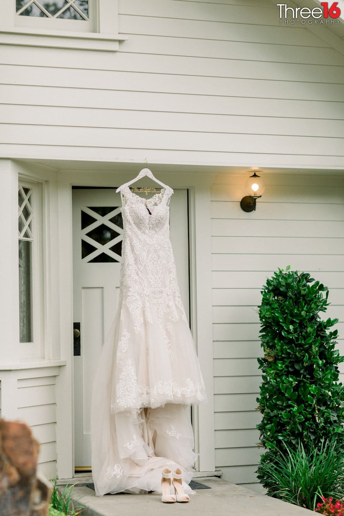 Bride's Gown and Shoes are on display outside of the Nixon Birthplace in Yorba Linda, CA