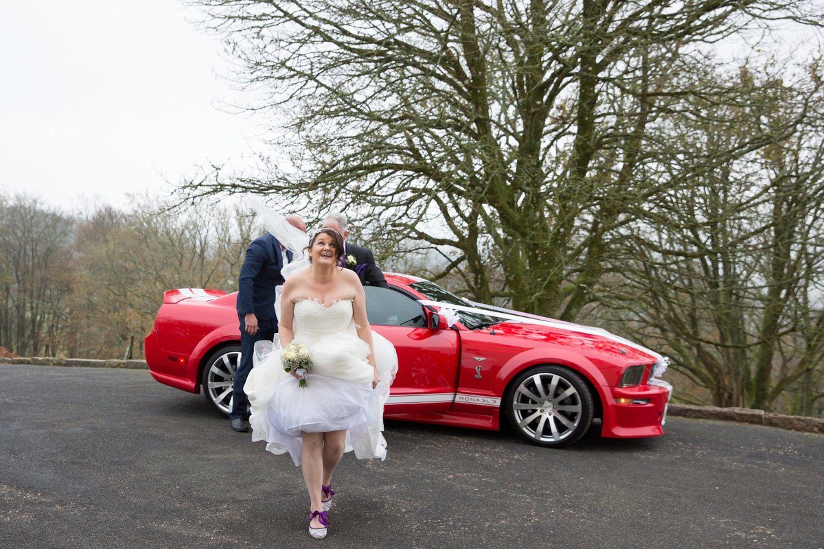 bride with mustang wedding car haldon belvedere