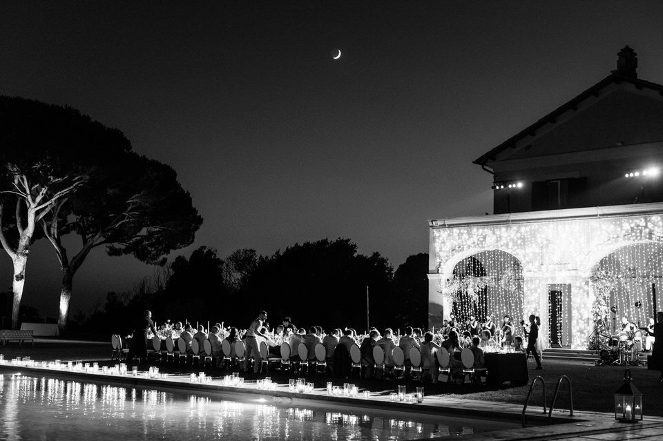 black and white wedding dinner reception in rome