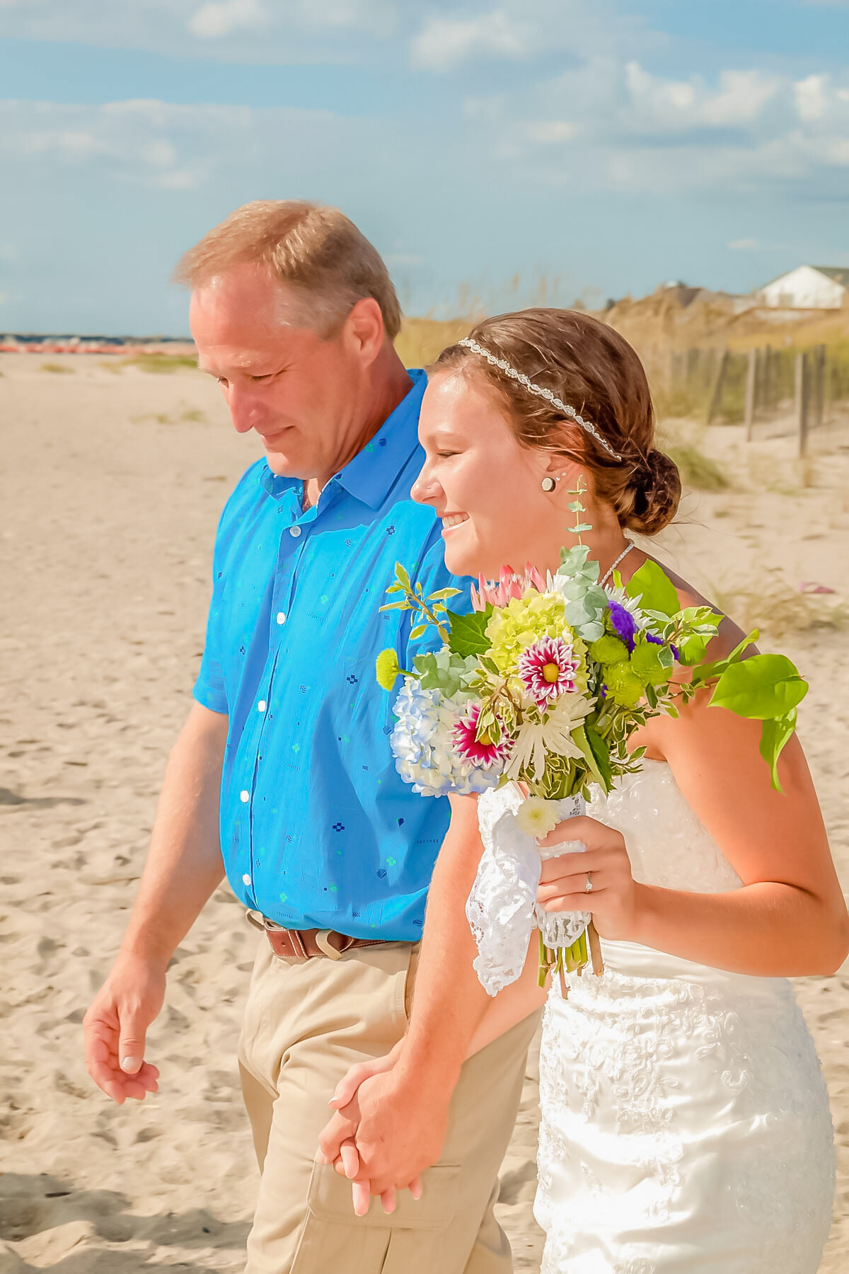 Bald Head Island NC Wedding Photography - Anna and Ray - Bride and Father Head Shot - Wilmington Photographers Team