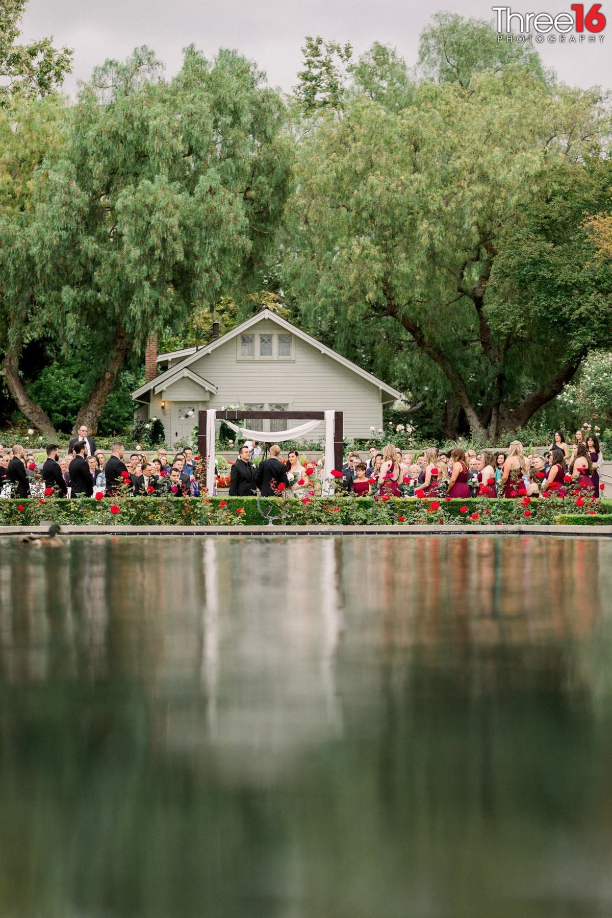 Wedding Ceremony from across the reflecting pool at the Richard Nixon Library
