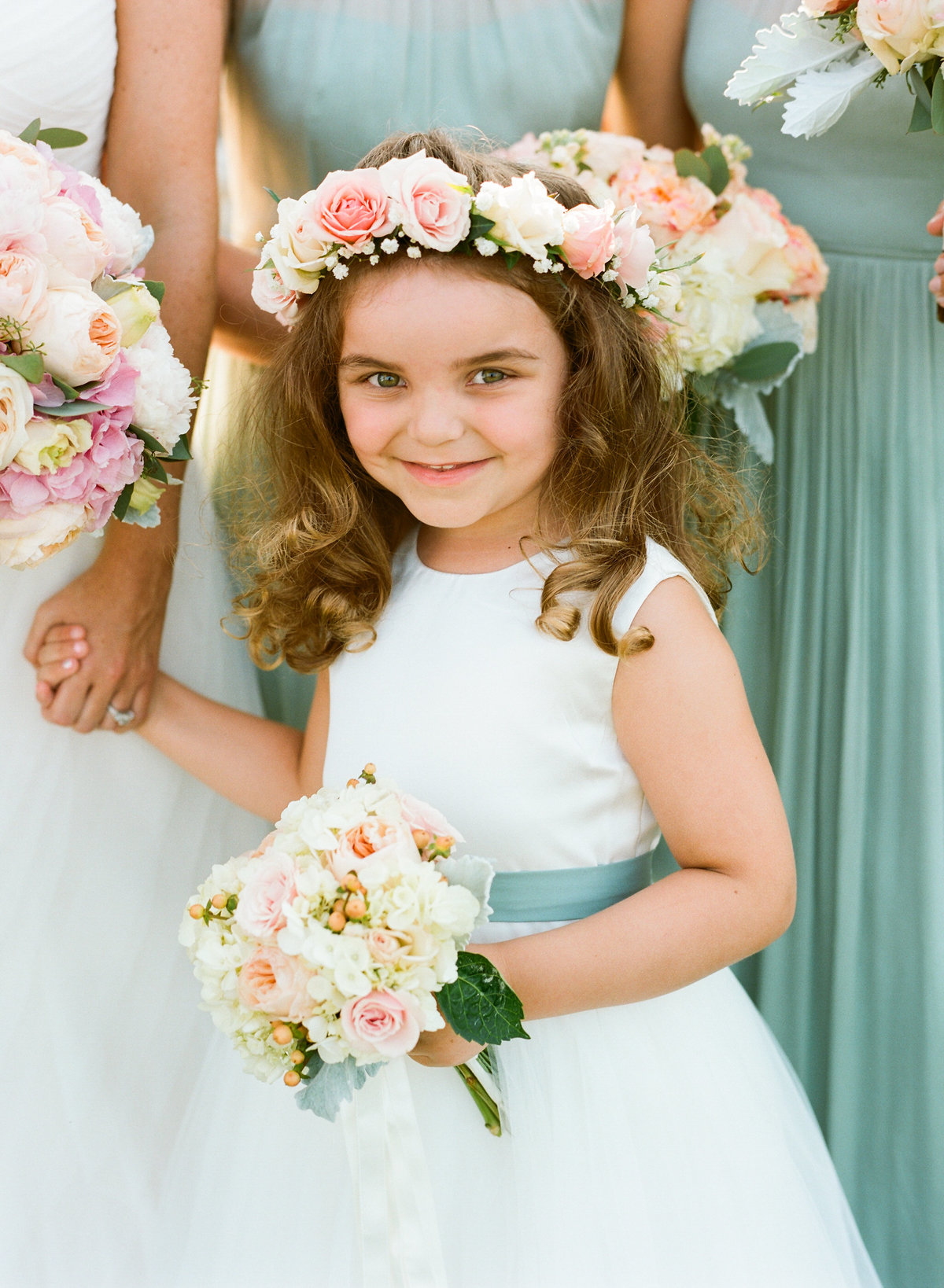 Flower girl with blush flower crown