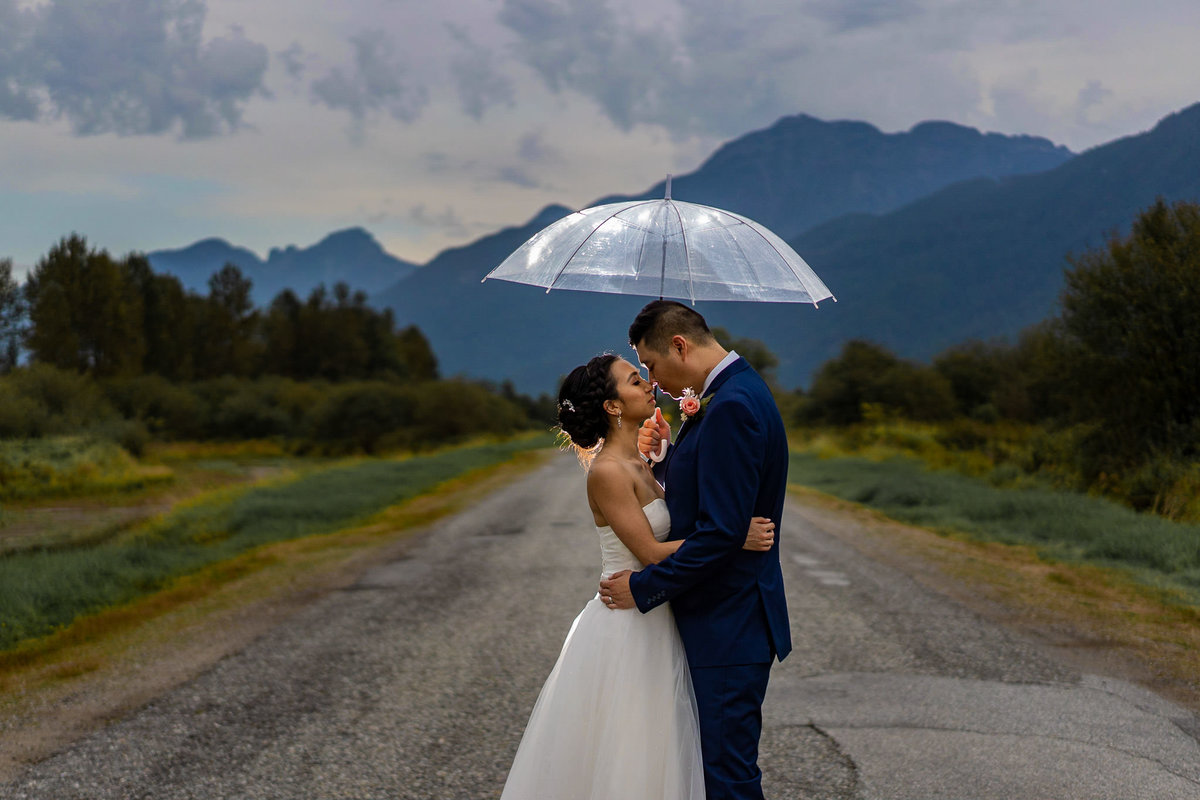 Pitt Lake wedding with bride and groom on the road