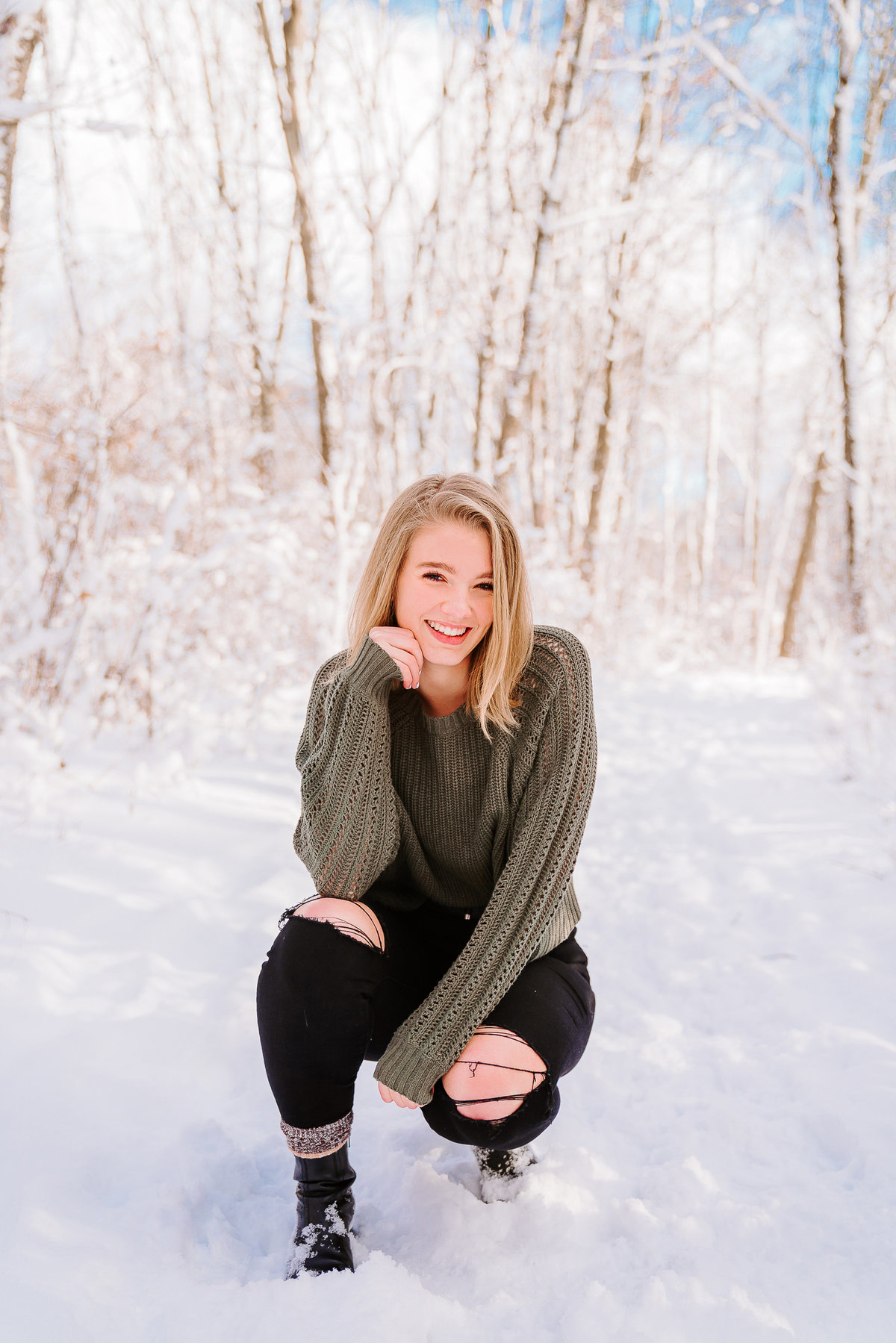 high school senior in snow lillian anderson arboretum kalamazoo MI