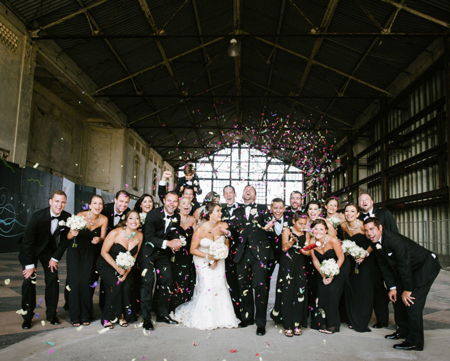 Bridal party with confetti in Asbury Park NJ