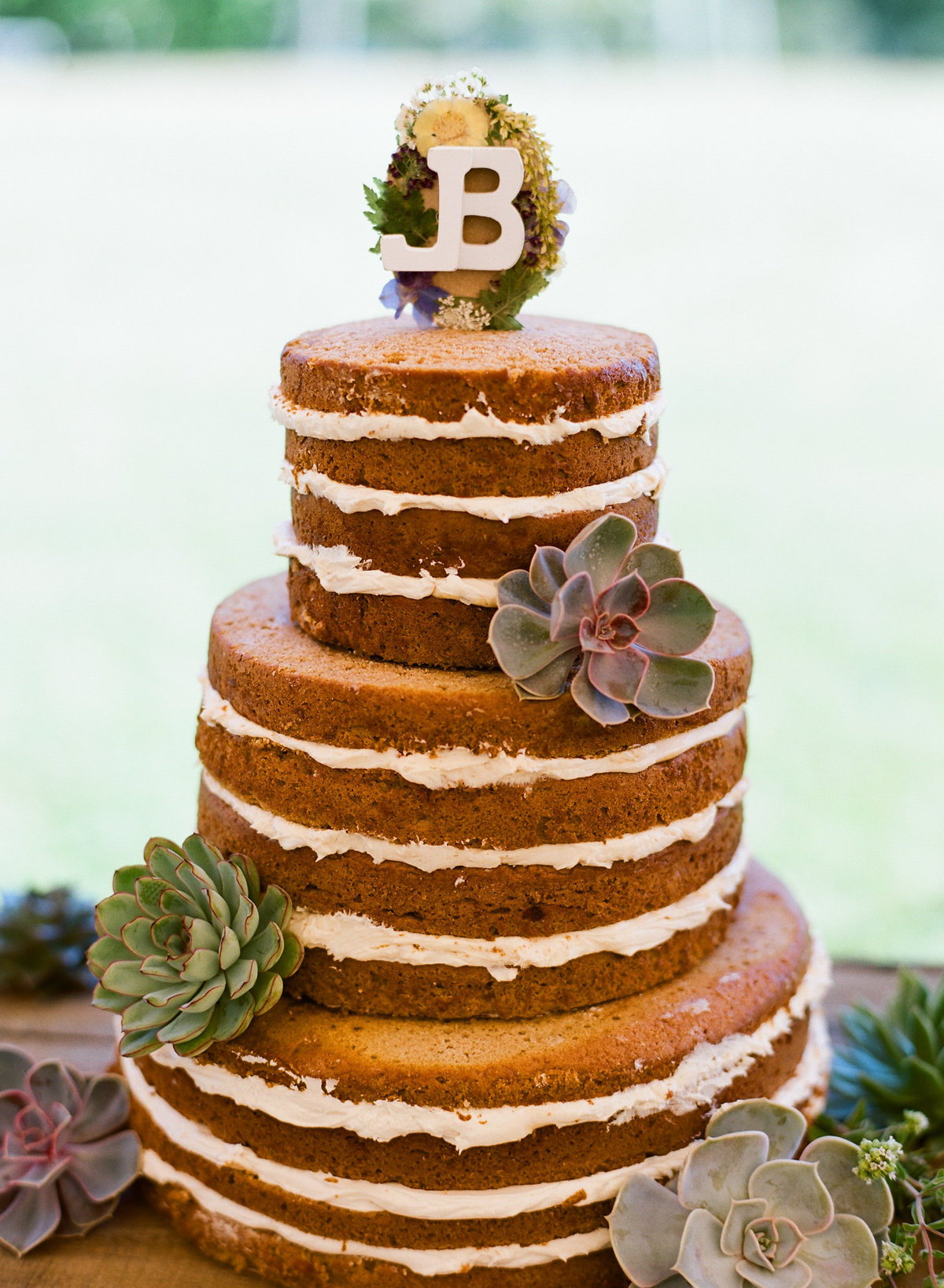 Naked cake with succulents at Bourne Farm