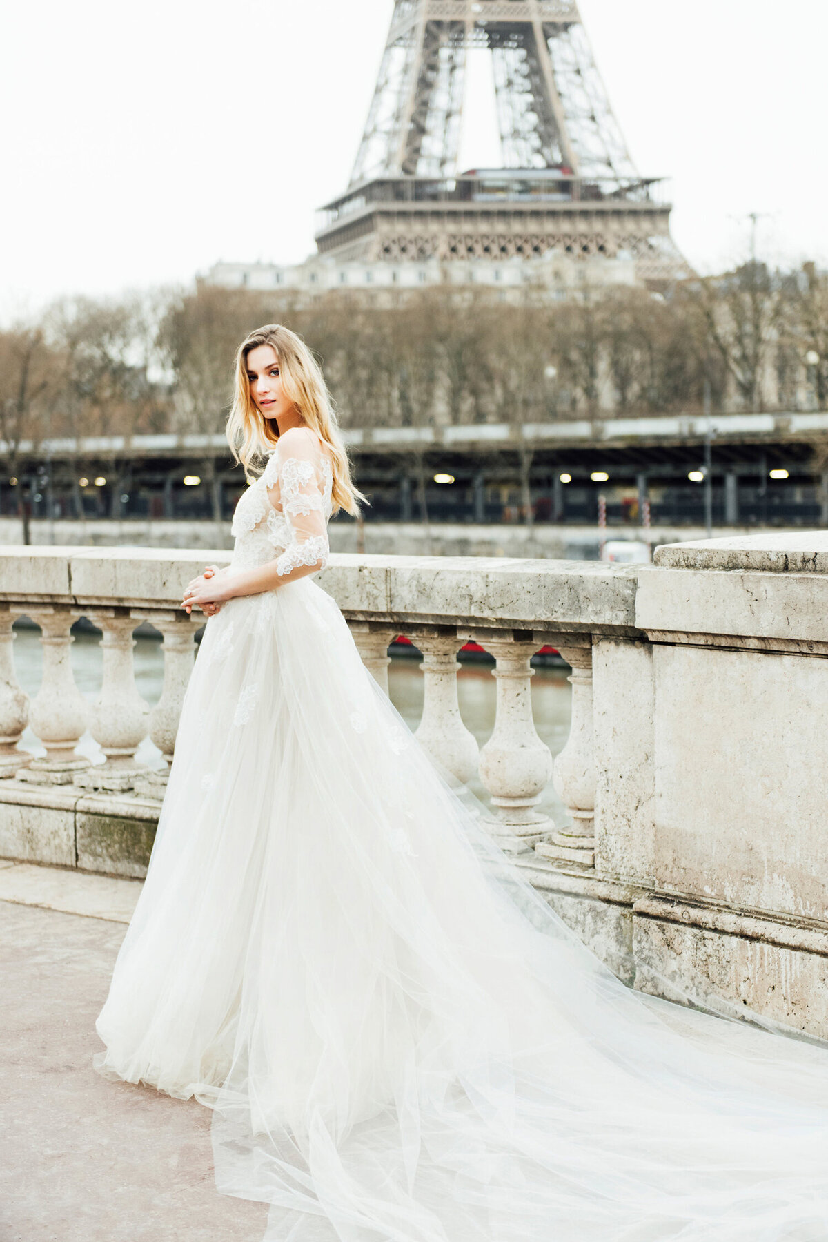 Katie Mitchell, Monique Lhuillier Bridal Paris France Wedding Trine Juel Hair and makeup 5