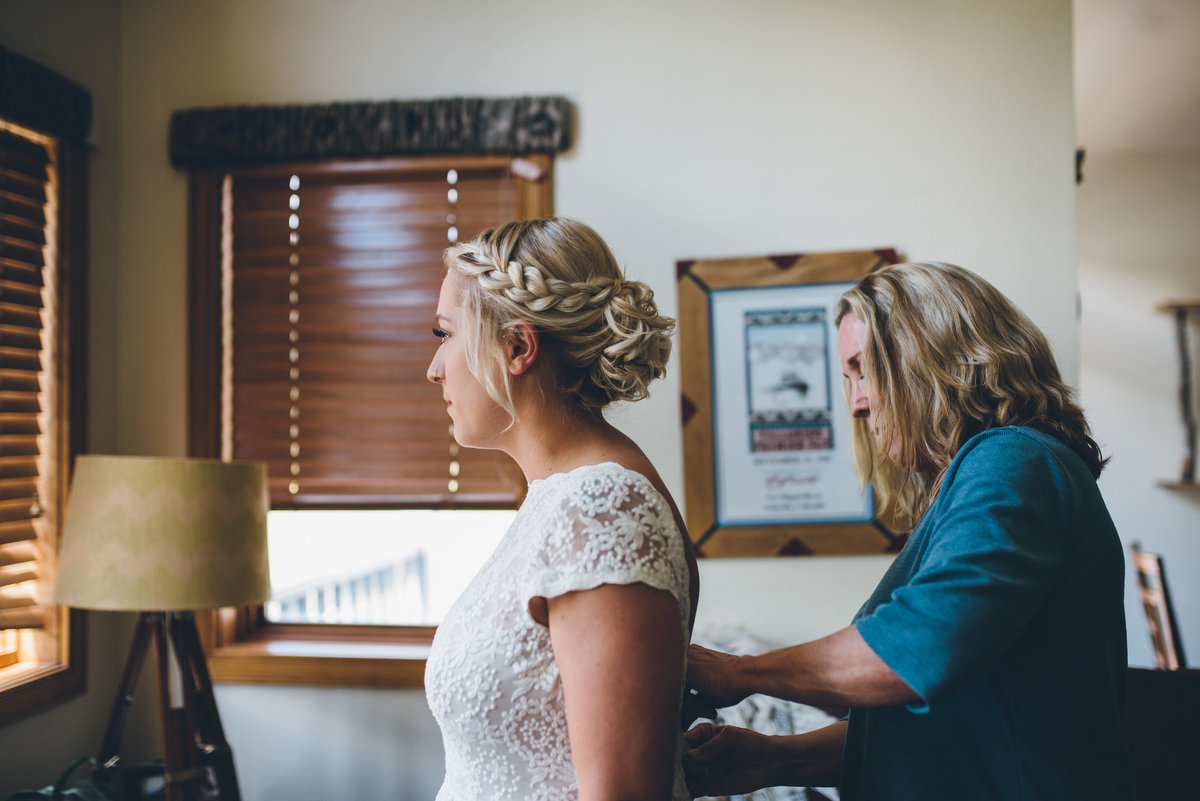 Bride getting ready for her Telluride, Colorado wedding