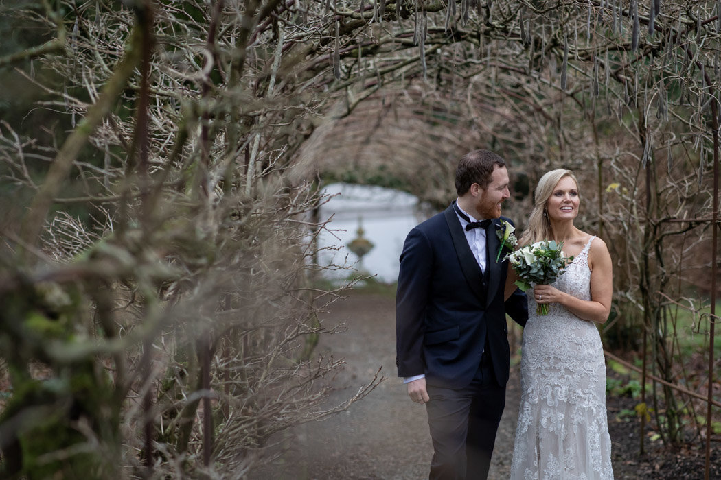 Wedding Day photo in the grounds of Pentillie Castle Devon