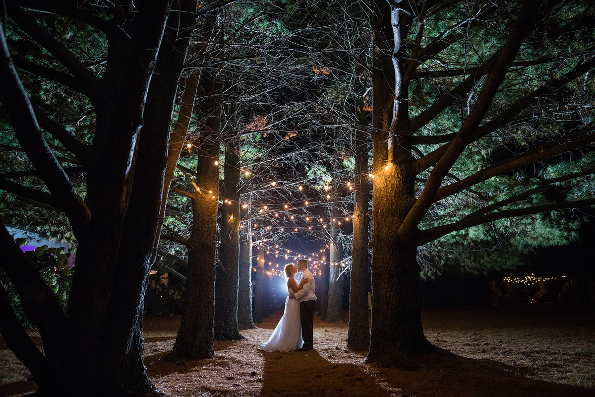 bride and groom kissing under lights at Oak Hill