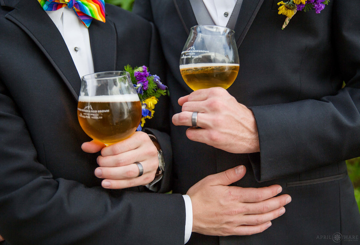 Craft Beer Lovers Wedding with custom printed tulip beer glasses for a Gay Wedding in Boulder CO