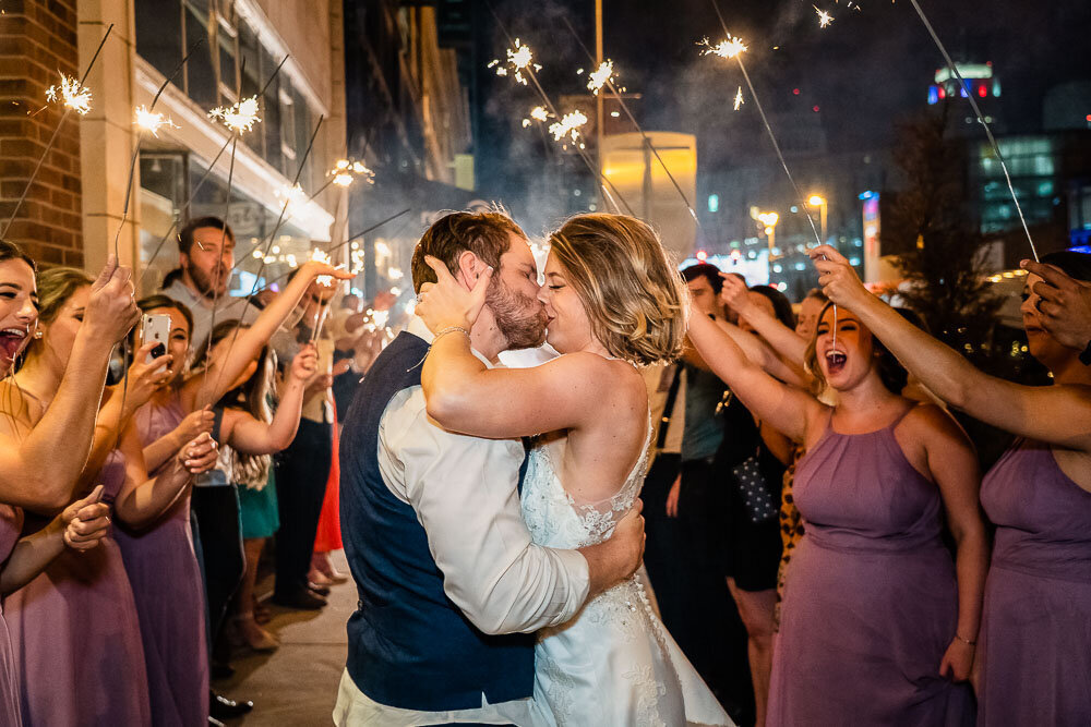 Sparkler Exit at The Rooftop on Main. Downtown KC Wedding Photographer. KC Wedding Photos - Emily Lynn Photography-134