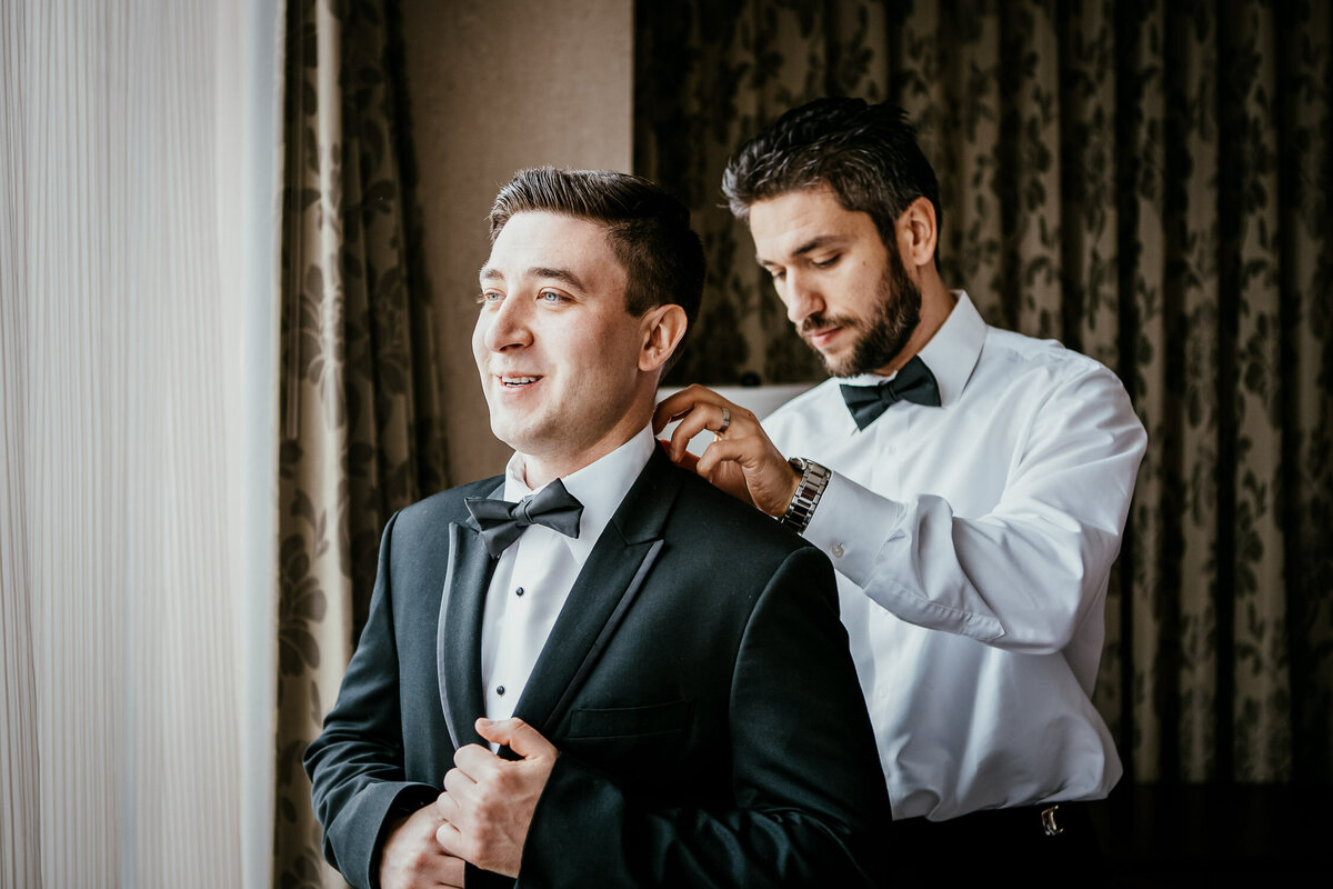 Best man assisting Groom for wedding day in Buffalo, New York