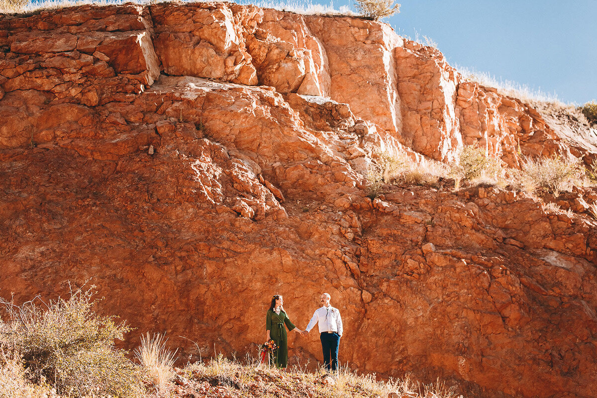 red rocks colorado elopement bride and groom