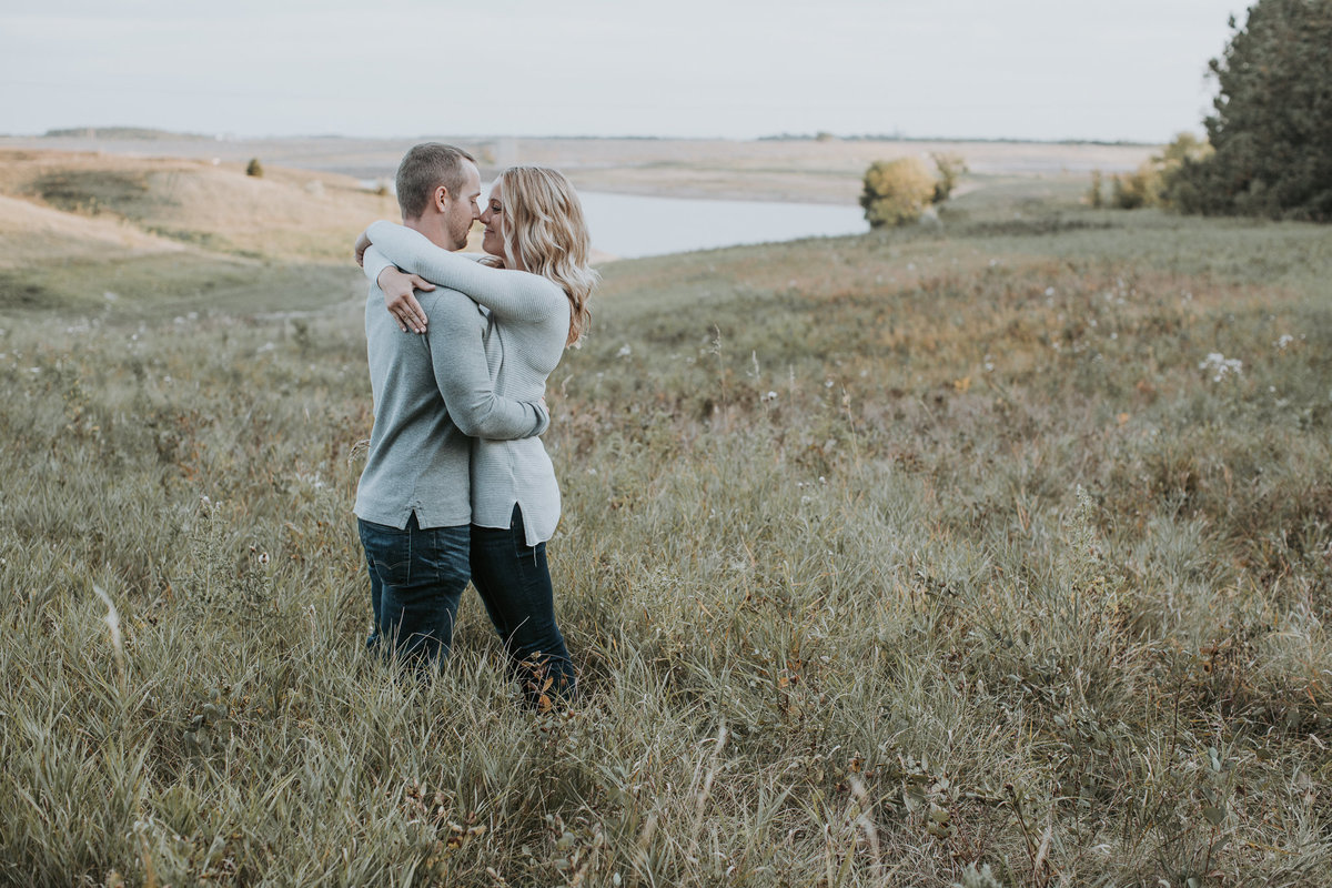 Montana couple hugging for engagement session