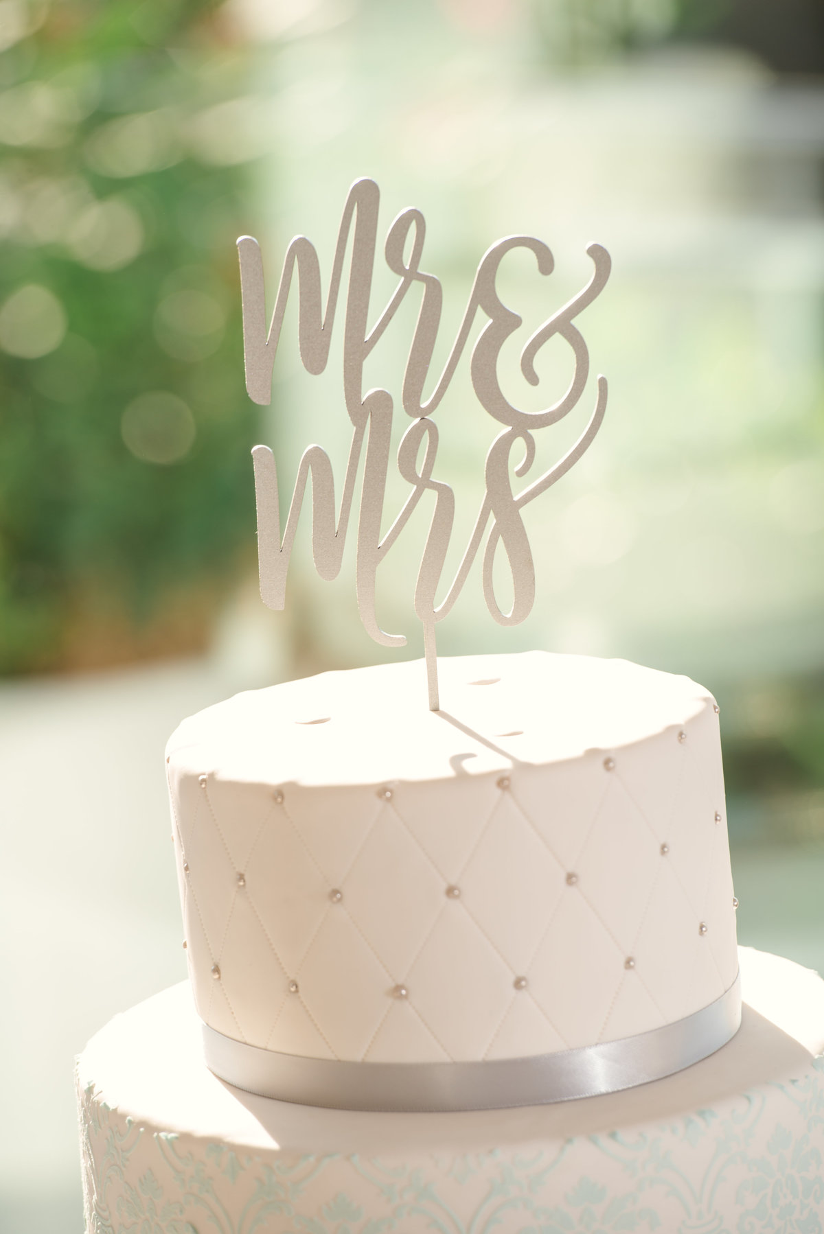 Mr and Mrs cake topped