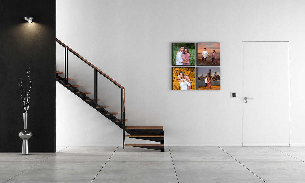 4 fine-art images near modern staircase.