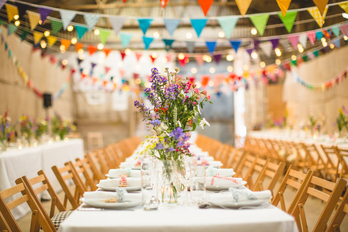 village hall wedding long tables with bunting